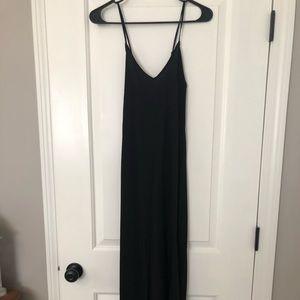 V neck maxi shift dress